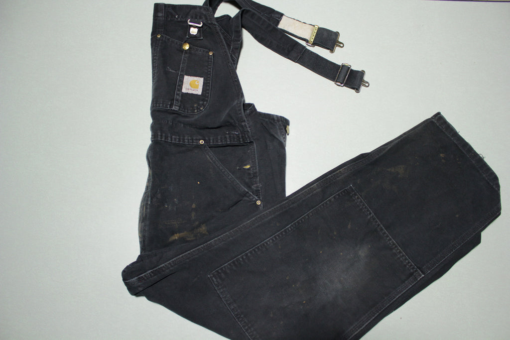 Carhartt R01 BLK Distressed Double Knee Duck Work Black Bibs Overalls