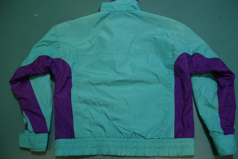 White Sierra 90s Green Purple Pink Windbreaker Jacket Vibrant Colors