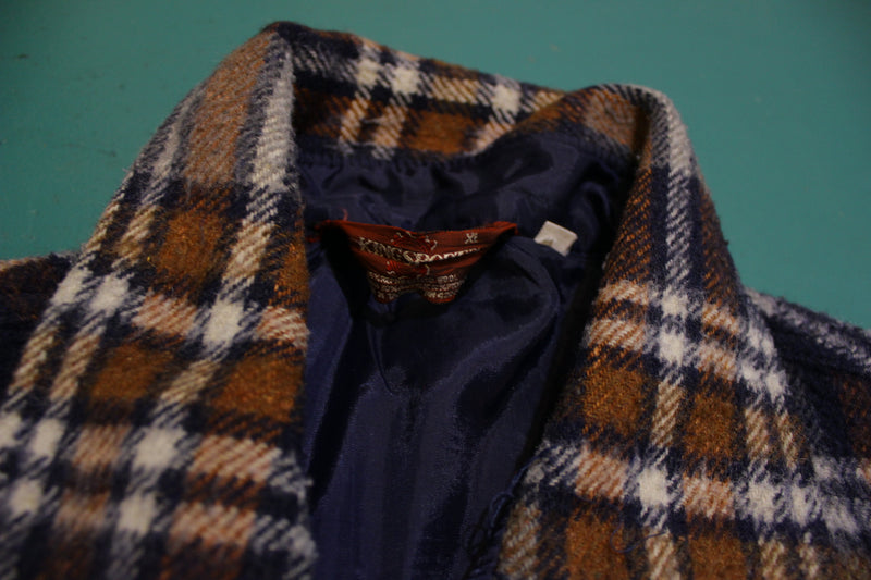 Kingsport Vintage 60's 70's Lined Flannel Plaid Wool Shirt Jacket With Pockets