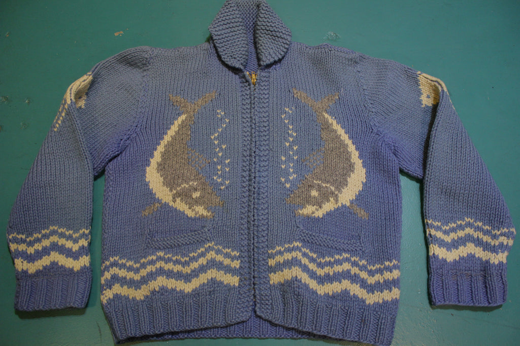 Cowichan Vintage 50's 60's Talon Zipper Dolphin Blue Handmade Knit Wool Sweater
