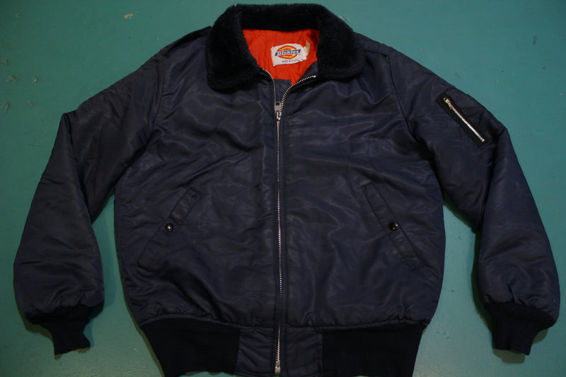 Dickies Vintage Made in USA Quilt Lined Bomber Blue Flight Jacket 70's 80's Fur Collar