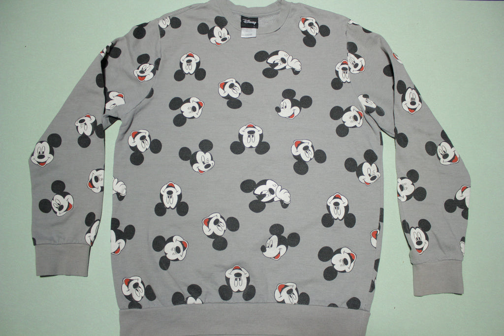 Mickey Mouse Head All Over Print Disney Crewneck Sweatshirt