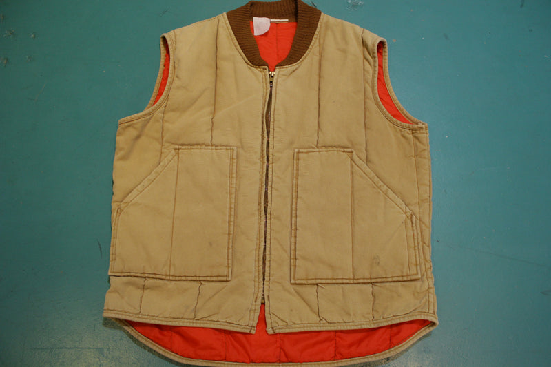 Walls Blizzard-Pruf Insulated Quilt Lined Brown Duck Wash Canvas Vintage Vest