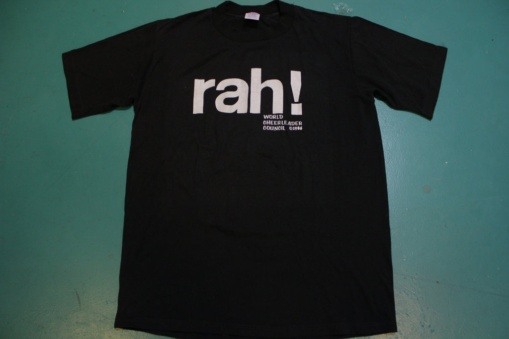 Rah World Cheerleader Council 1986 Black Single Stitch 80s Jerzees T-Shirt