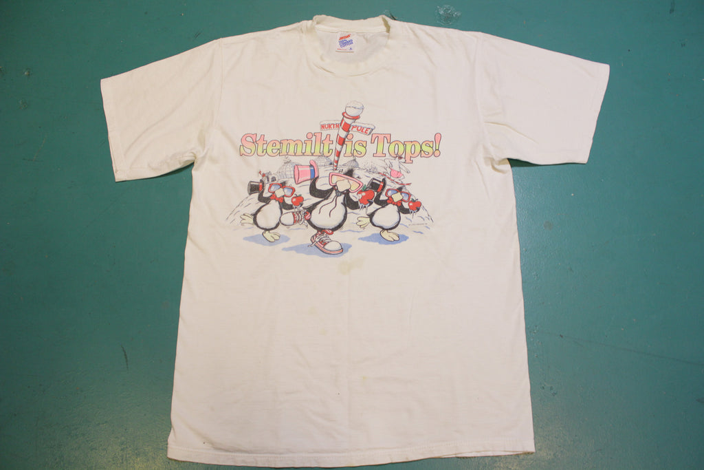 Stemilt Apples Vintage North Pole Penguins Single Stitch 80s Jerzees T-Shirt