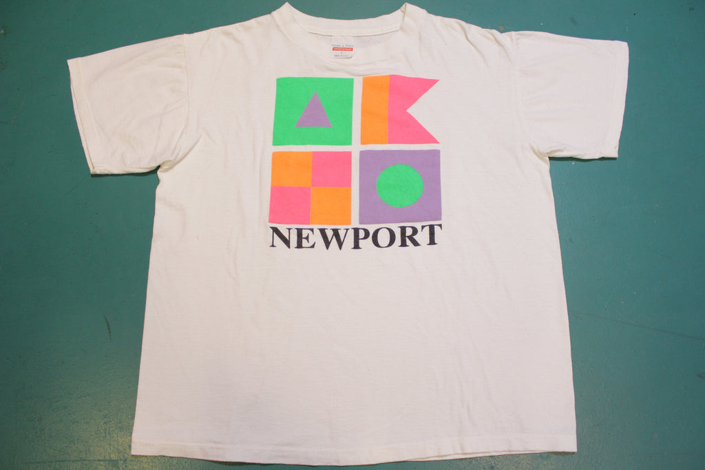 Newport Bright Block Color Eagle Point USA Single Stitch 80's Vintage T-shirt