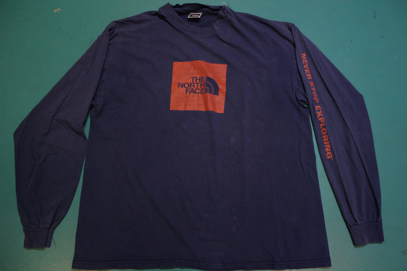 The North Face Box Logo Big Long Sleeve Spellout Vintage 90s Blue T-Shirt