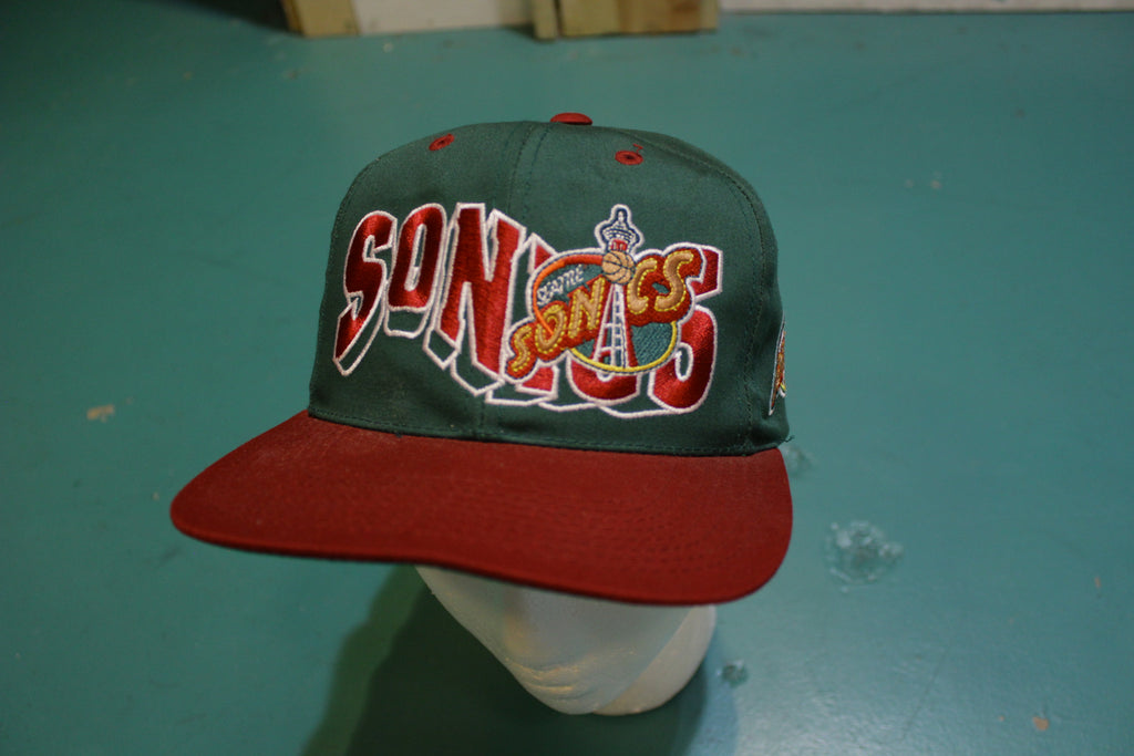 Seattle Sonics Authentic 90's GCC Vintage Snapback Trucker Cap Basketball Hat