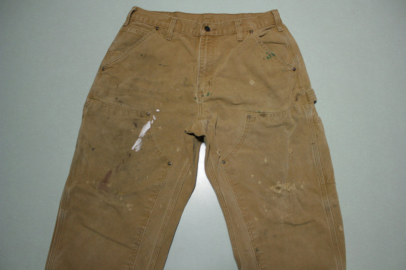 Carhartt B136 Double Knee Heavily Distressed BRN Construction Utility Work Pants