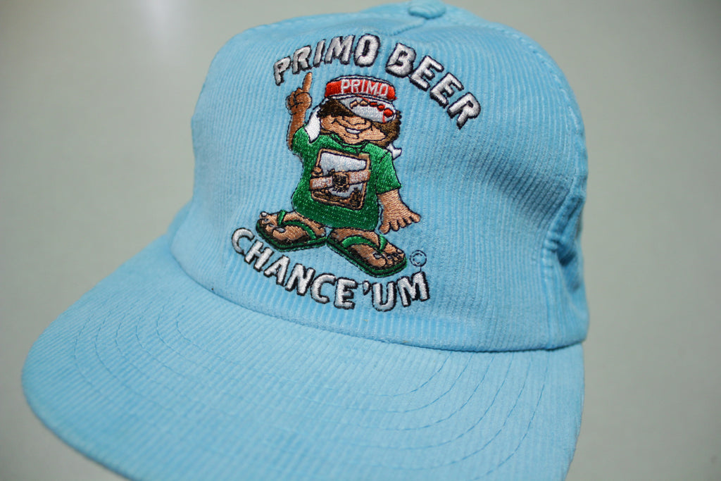 Primo Beer Chance Um Corduroy Vintage 80's Adjustable Back Snapback Hat