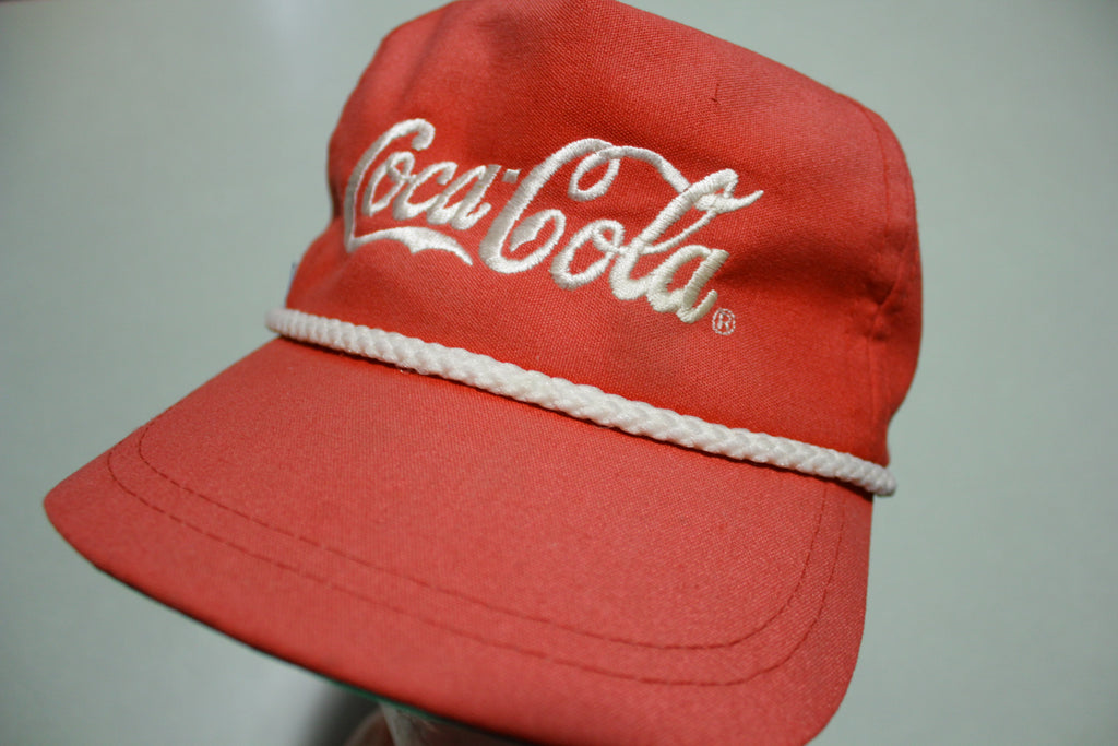 Coca Cola Vintage White Rope Cord Red 80's Adjustable Back Hat