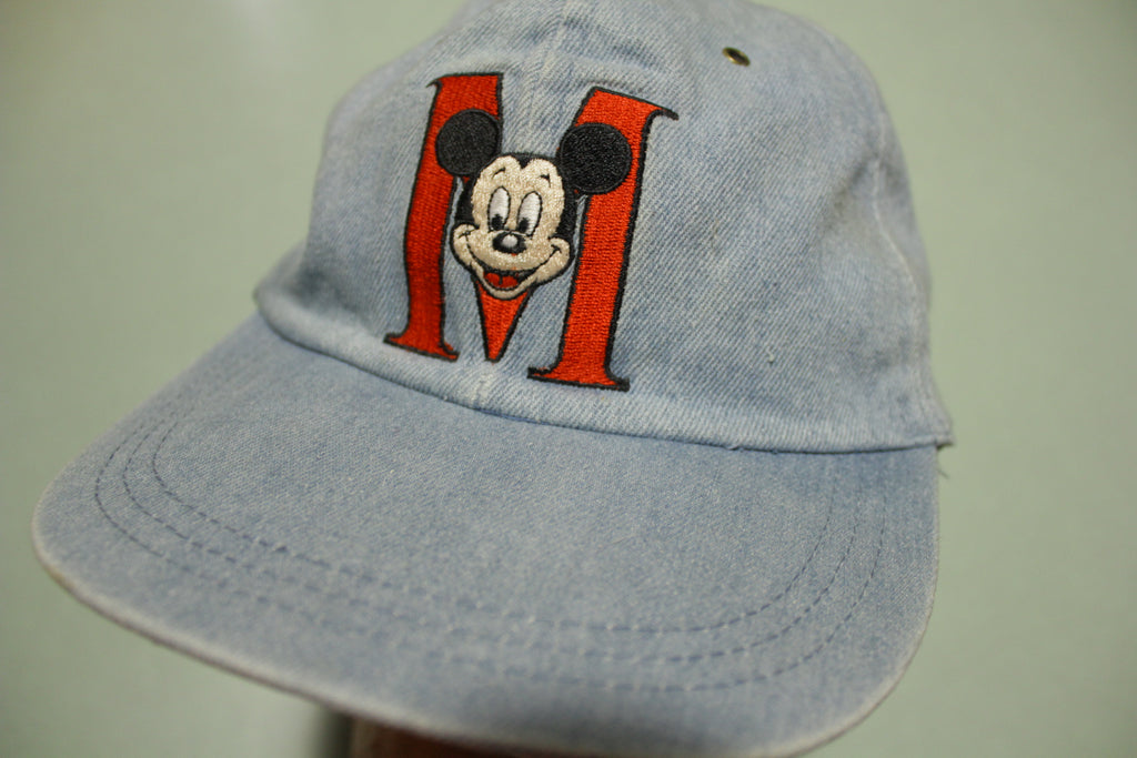 Mickey Mouse Denim Chambray Vintage 90's Adjustable Back Hat