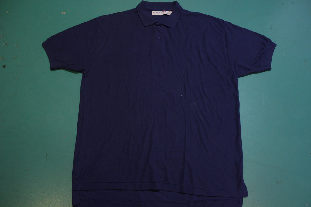 Levis Capital E 1990's Vintage Navy Blue Polo Shirt
