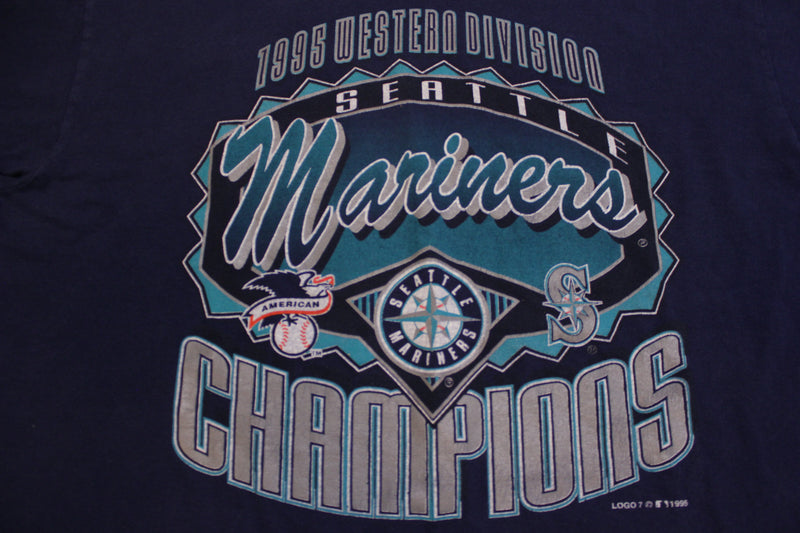 Seattle Mariners Western Division Champions 1995 Vintage 90's Single Stitch T-Shirt