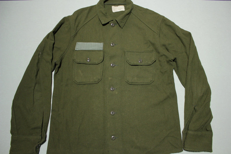 Wool OG Cold Weather Field Button Up Army Military Shirt Dated 1978 70's