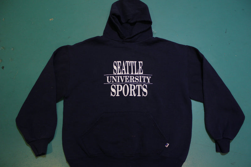 Seattle University Sports Made In USA Vintage 90's Russell Hoodie Sweatshirt.