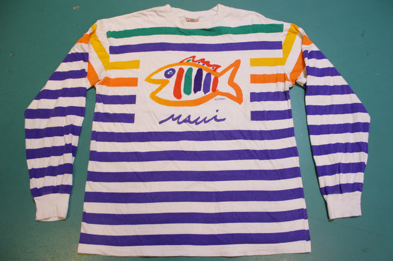 SGT Leisure Maui Fish 90's All Over Print Bright Striped Colorful Long Sleeve T-Shirt