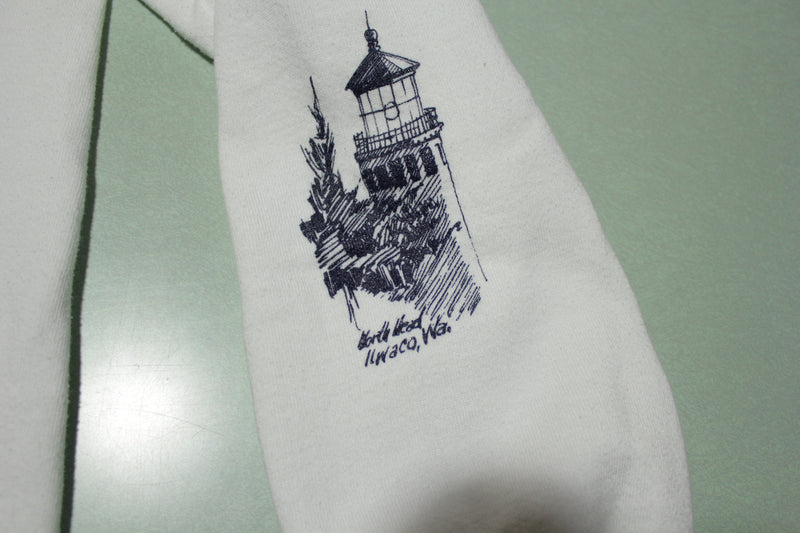 Washington Lighthouse All Over Print Vintage Jerzees USA Crewneck Sweatshirt