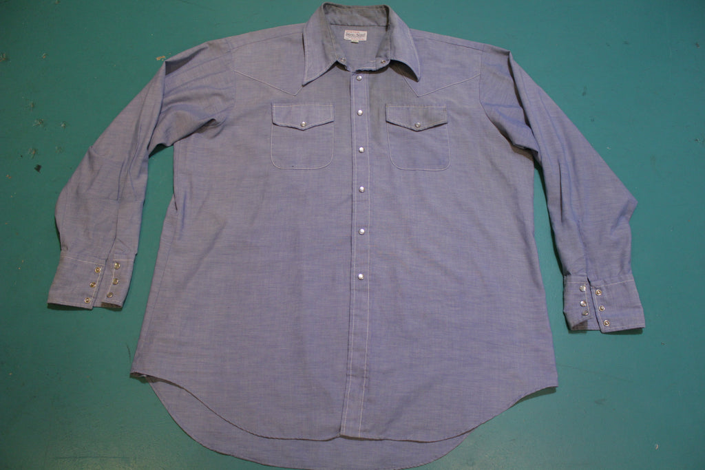 The King Size Brockton Mass Vintage Pearl Snap Chambray 70's Long Sleeve Shirt