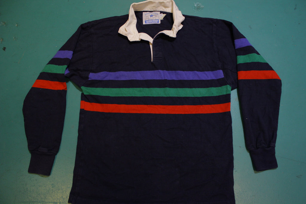 Lands End Authentic Rugby Striped 90's Color Block Made In USA Polo Long Sleeve Shirt
