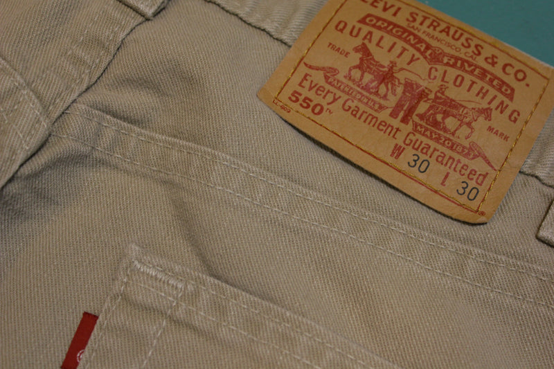 Levis Khaki 550 Made in USA Jeans Vintage 1990's Mint Denim One Wash