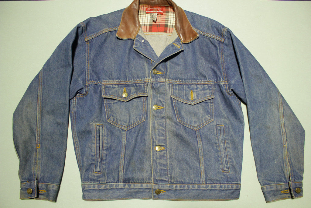 Marlboro Country Store Vintage Leather Collar Plaid Lining 90s Denim Jean Jacket