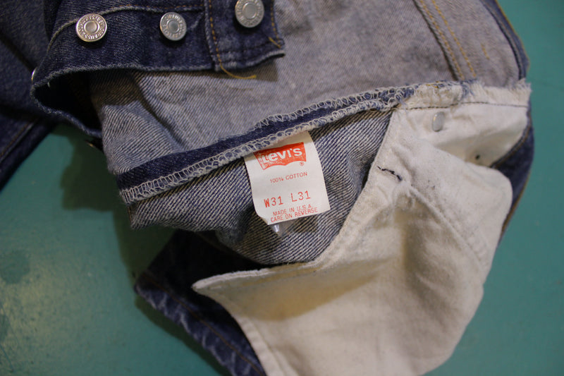 Levis 501 Button Fly 80s Red Tag Made in USA Vintage Blue Denim Jeans 30x29
