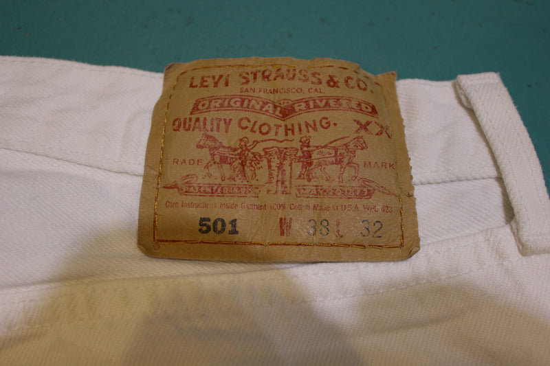 Levis 501 Button Fly 90s Red Tag Made in USA Vintage White Denim Jeans 36x32
