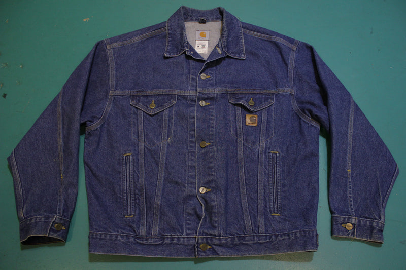 Carhartt J12 DST Denim Blue Jean Trucker Work Jacket One Wash