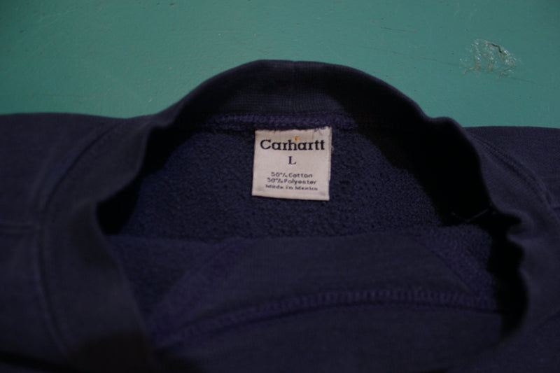 Carhartt K124 NVY Navy Blue Embroidered Midweight Crewneck Sweatshirt.