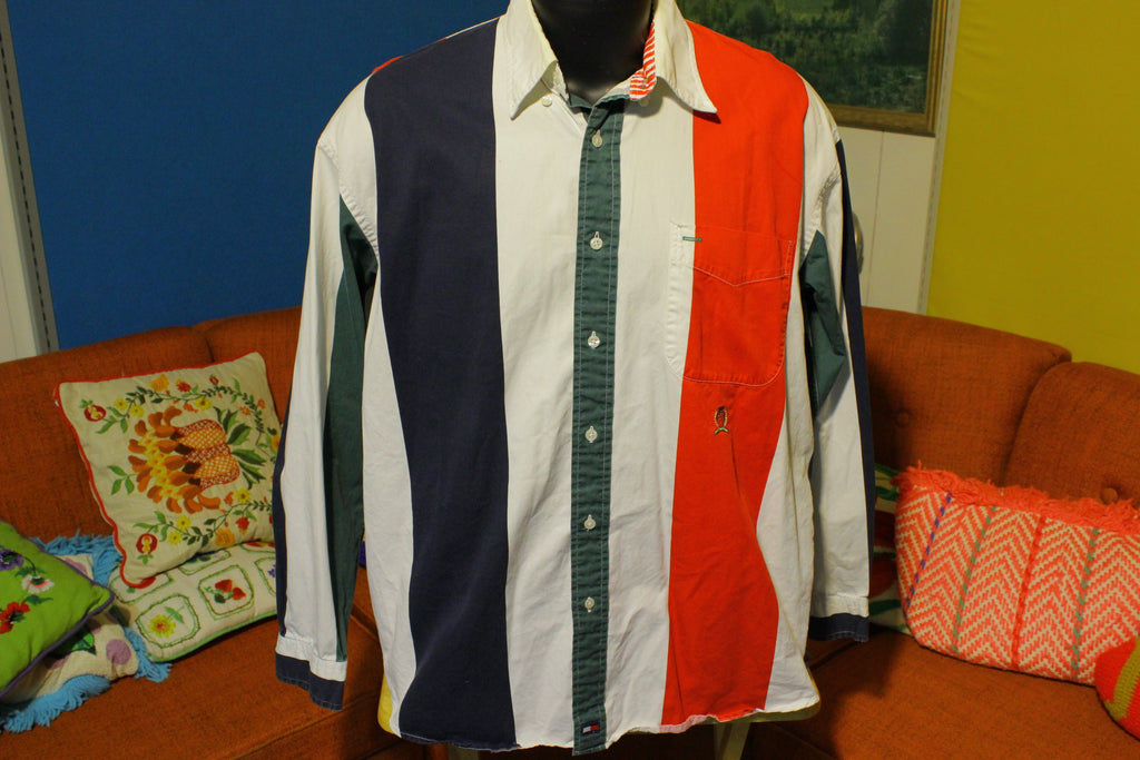 90s Mens Tommy Hilfiger Multicolor Vertical Stripe Button Down Shirt