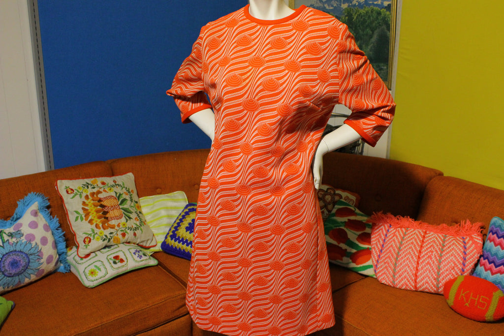 Lady Mendel Knits of Distinction Dress.  Mod Boho Hippie Caftan Style, Vintage 1960's.