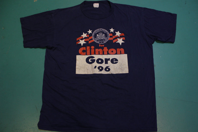 Clinton Gore 1996 International Brotherhood of Painters Vintage 90's Political T-Shirt
