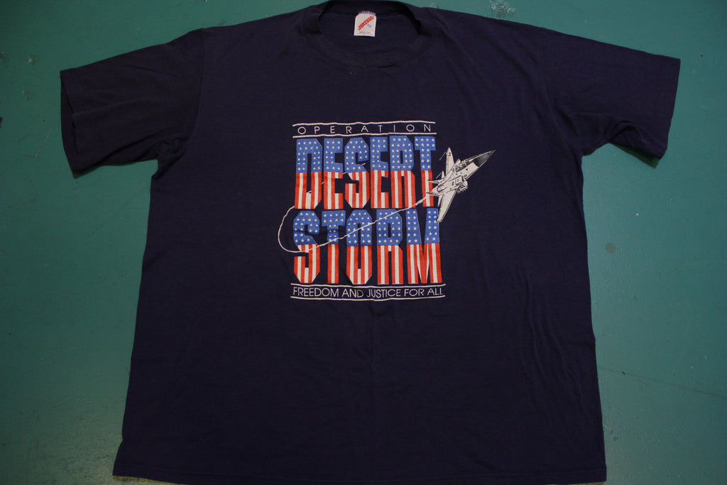 Operation Desert Storm Freedom Justice For All Vintage 90's Single Stitch USA T-Shirt.