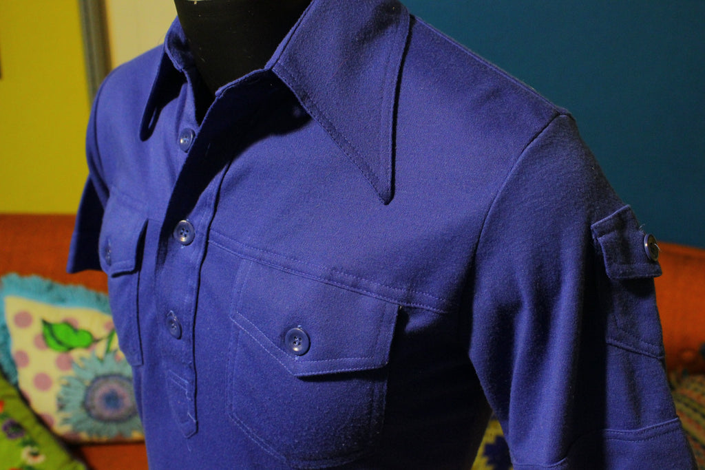 3 Pocket QW for Men Polo Original 80's Shirt.  Blue and Vintage.