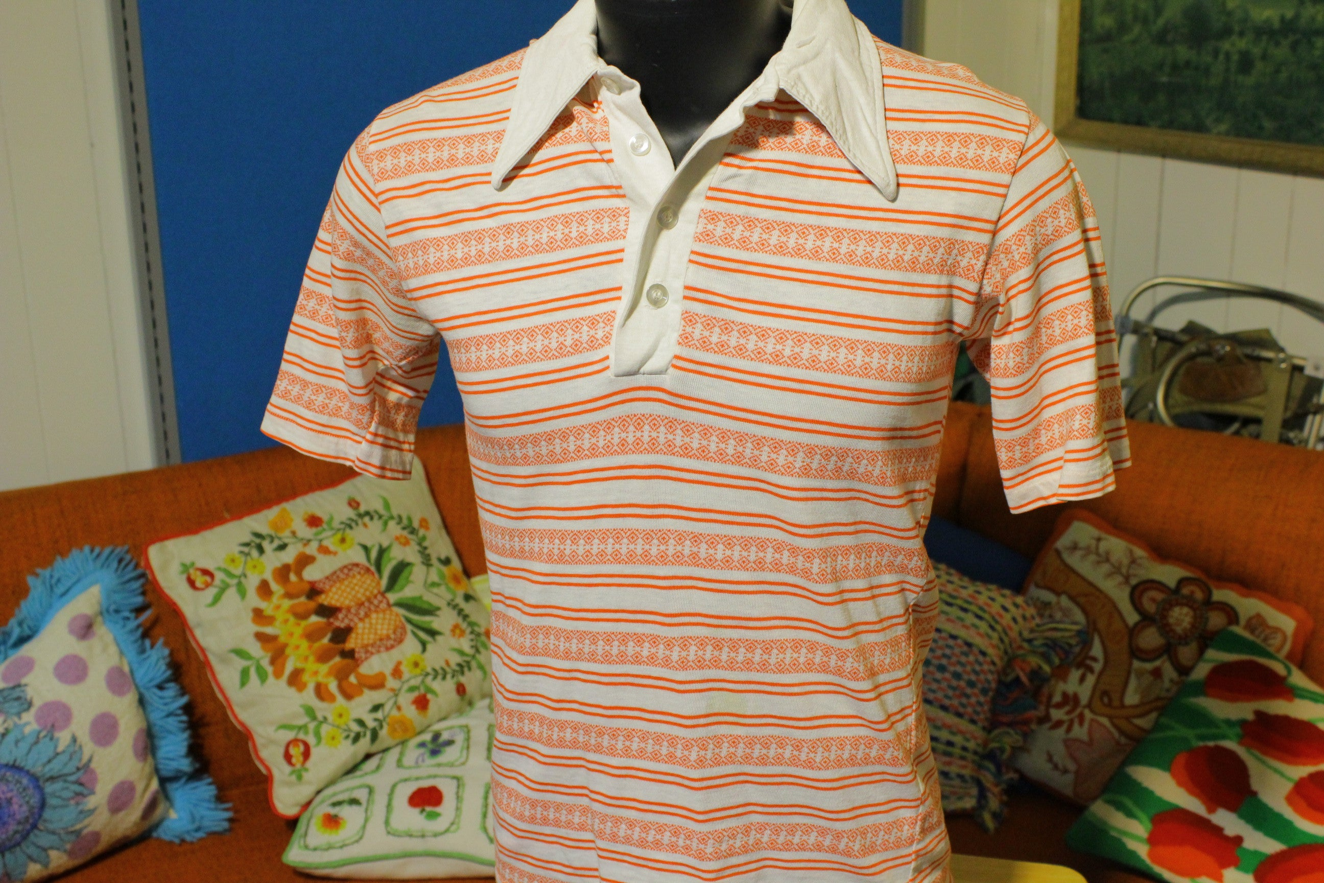 London Square Vintage 60's 70's Red and White Striped Polo.  Original.