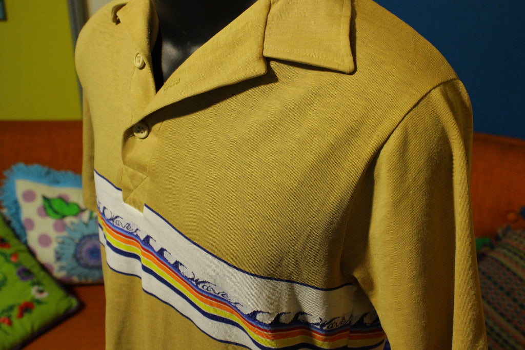 Waves Totally Tubular 1980's Vintage Beach Polo Shirt