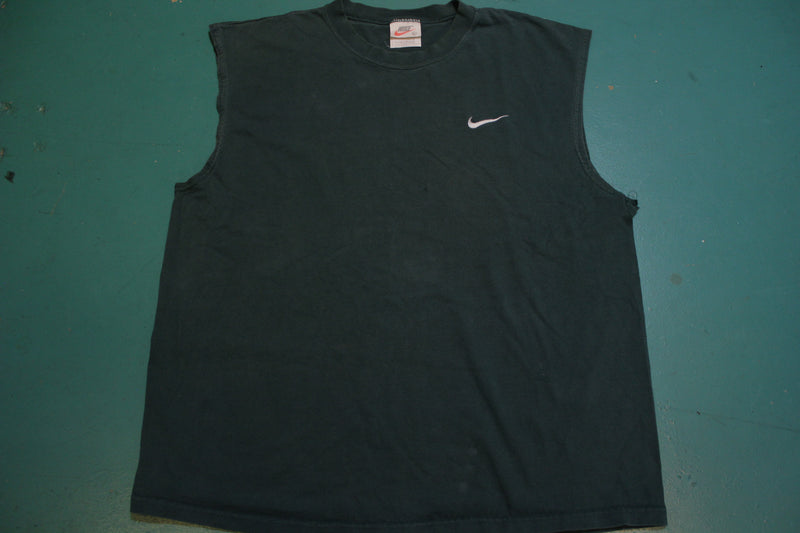 Nike 90's Made in USA Vintage Sleeveless Embroidered Swoosh Muscle Shirt