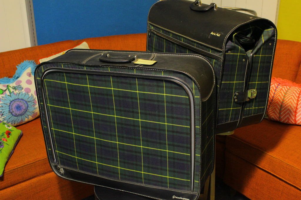 Vintage Plaid Atlantic Val-A-Pak / Grasshopper Suitcase and Garment Bag Luggage