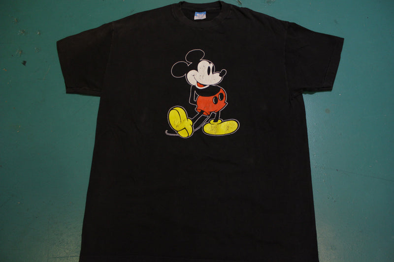 Mickey Mouse Vintage Disney Blue Bar Tag Made in USA 80's 70's Single Stitch T-Shirt