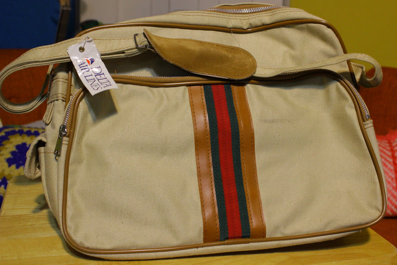 Mr. Roberts Designer Luggage Vintage Canvas Handbag.  Heavy Duty.