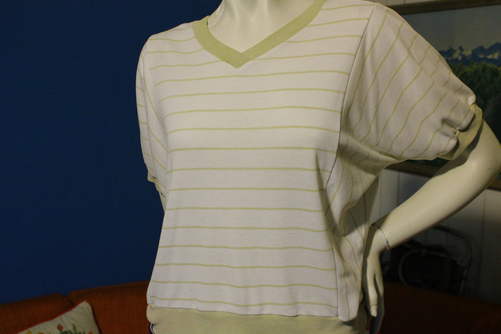 Vintage 80's Striped V Neck Shirt Banded.