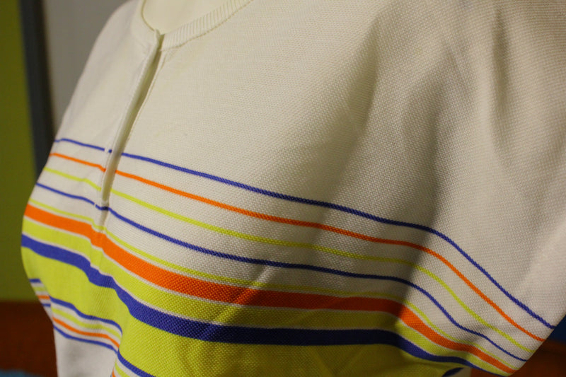 Devon 1980's 1970's Vintage Striped Summer Shirt.
