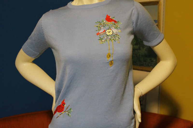 1960's Rare Unique Embroidered Knit Short Sleeve Shirt Red Robin
