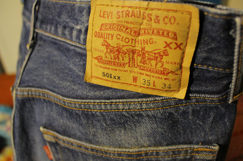 90s Levis 501 Button Fly Jeans. Vintage, Made in USA 501xx Waist 34