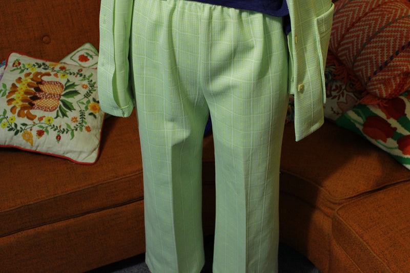 3-Pocket Green Plaid Vintage Women's Two Piece Suit. Excellent 1970's Clothing.