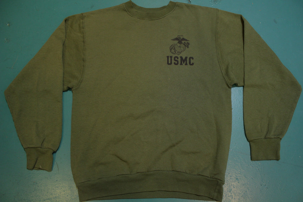 USMC Marines Vintage 80's Green Issue Casual Pullover Gym Sweatshirt.
