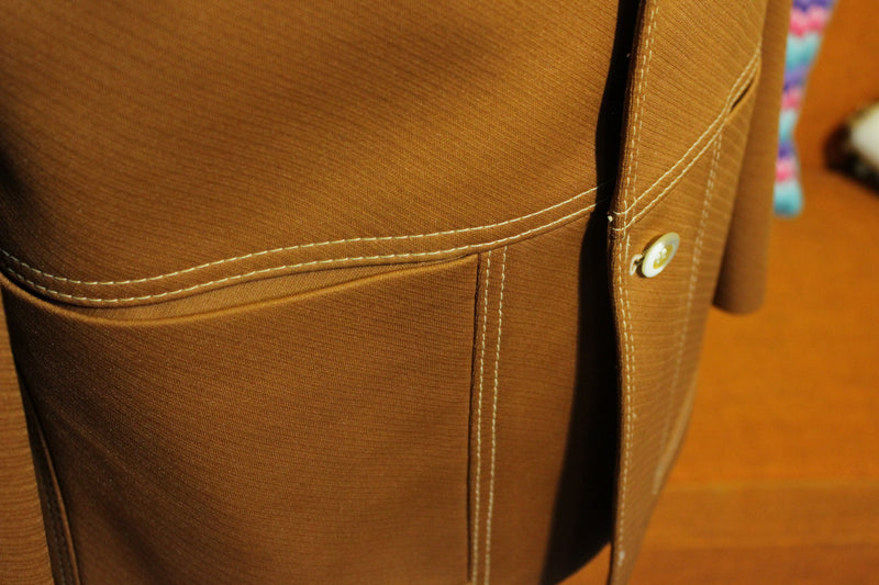 Rolls 1970's Vintage Brown Disco Sports Suit Jacket. White Threads. 4 Pocket. Dead mint!