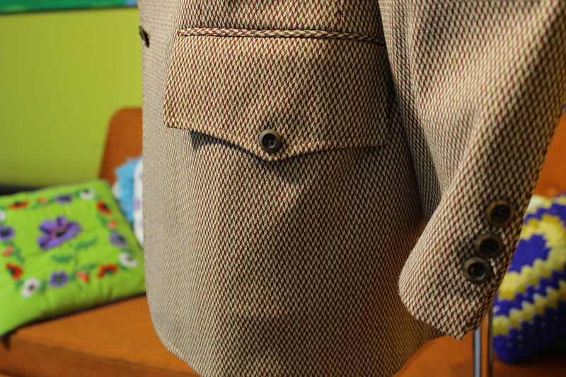 1970's Plaid Two Button Brown Leisure Suit Jacket.  Slick Clothes. Sherwood Premier Quality