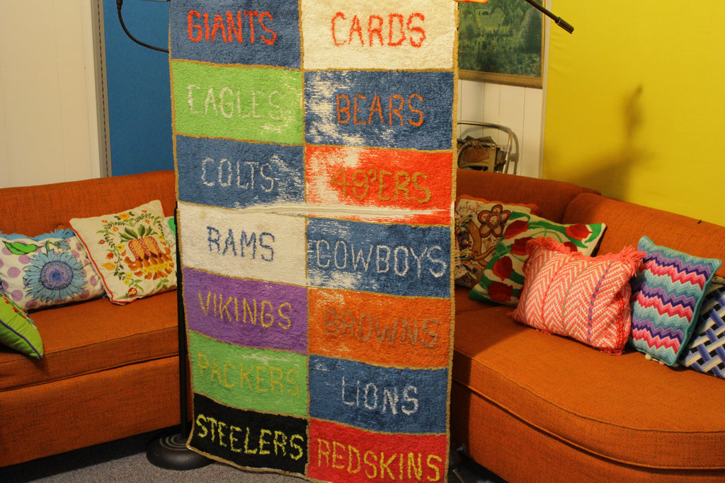 Rare 1960's Vtg NFL Football Rug Fabric Wall Art Bears Packers Rams Steelers
